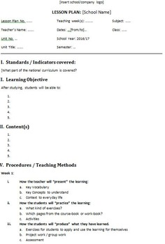 Lesson Plan Template in Word (Free and Editable)