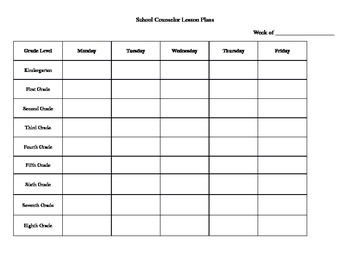 Lesson Plan Weekly Template