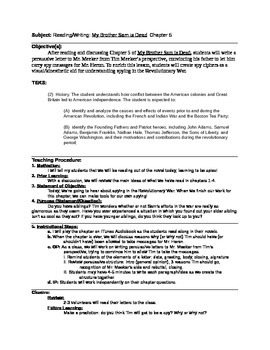 Lesson Plan for My Brother Sam is Dead: Chapter 5