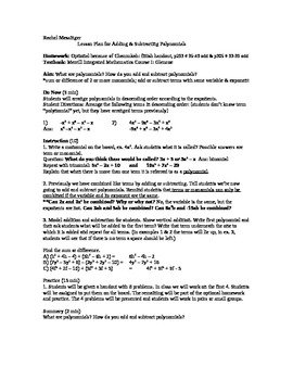 Lesson Plan on Adding & Subtracting Polynomials