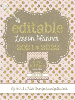 Lesson Planner: Pink and Gold for 2016-2017