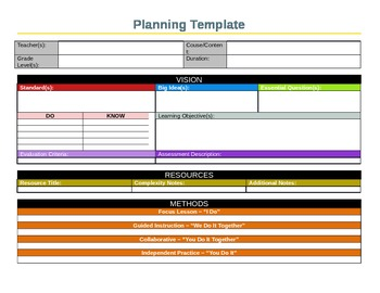 Lesson Planning Template - Aligned to Backwards Design and