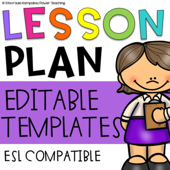 Lesson Planning Templates (Weekly Templates for ESL Lesson
