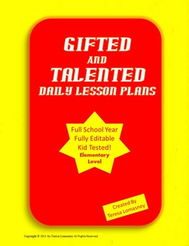 Lesson Plans Gifted & Talented Full Year {Bundled} Editable