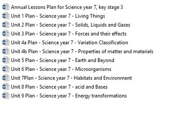 Lesson Plans / Science / year 7