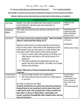 Lesson Plans- Wonders Reading 4th Grade -Unit 1 Week 4