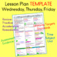 Lesson Plan Template for the Week on 2 pages EDITABLE for