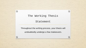Lesson and Peer Activity on The Working Thesis