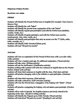 Lesson plan for Present Perfect