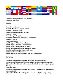 Lesson plan for geography of Latin America