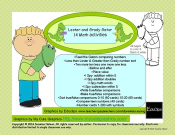 Lester and Grady Gator Math Activities