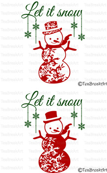 Let it snow Snowman Christmas Word Art Typography PNG EPS