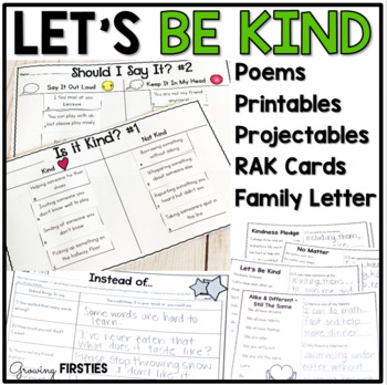 Let's Be Kind - Kindness Mini-Unit with Poems Printables P