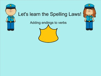 Let's Learn the Spelling Laws: Verb Endings Smartboard Pre