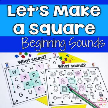 Let's Make a Square! Beginning Sounds Recognition Partner Game