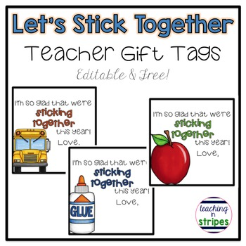 Let's Stick Together Gift Tag Freebie