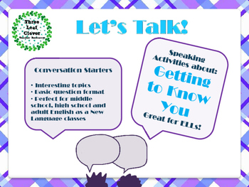 ESL Let's Talk! Conversation Starters - Getting to Know Yo