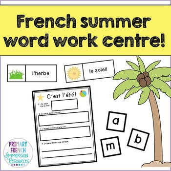 L'ete - French summer word work centre