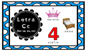 Letra C (for ca, co, cu)  Index Cards Vocabulary Puzzles (