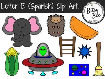Letra E, Clip Art para Vocabulario en español.