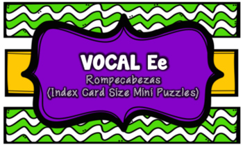 Letra E Index Card Vocabulary Puzzles (Rompecabezas)