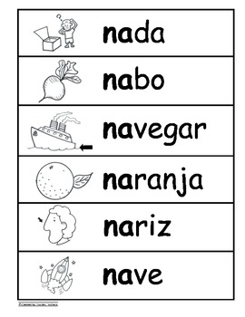 Letra Nn Kinder Bilingual SLA Tesoros' Literacy Centers (3 sets)