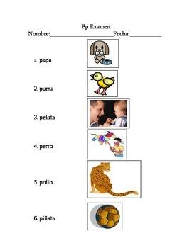 Letra Pp Examen- Vocabulario