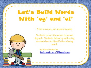 Let's Build Words (vowel digraphs oi, oy)
