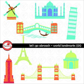Let's Go Abroad! World Landmark (Set 01) Clipart by Poppydreamz