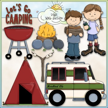 Let's Go Camping 1 - Commercial Use Clip Art & Black & Whi