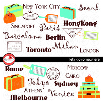 Let's Go Somewhere! Travel and Suitcase Clipart by Poppydreamz