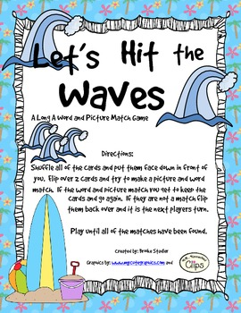 Let's Hit the Waves - A Long A Word and Picture Match Game