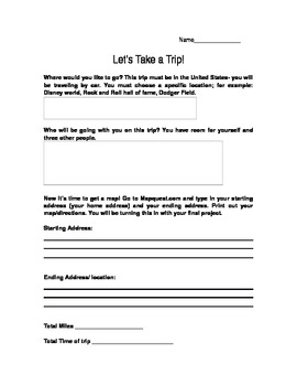Let's Take a trip! Practical mini unit for math and writte