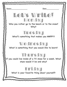 Let's Write (Daily Quick Writes)