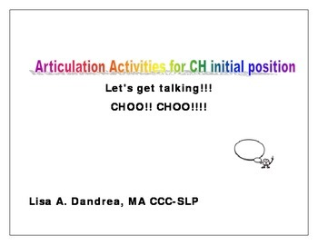 """Let's get Talking - Articulation activities for initial """"ch"""""""
