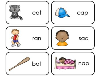 Letter 'A' CVC Picture and Word Printable Flashcards. Pres