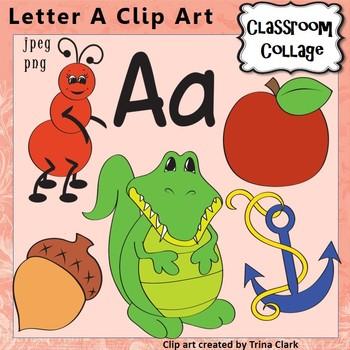Letter A Alphabet Clip Art - Items start w letter A sound