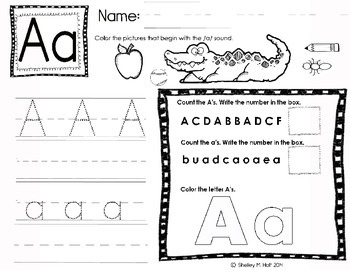 Letter A Handwriting, Counting, and Coloring Practice Page
