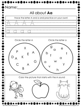 Letter A Worksheet- Common Core Aligned
