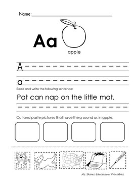 Letter A a printable worksheet / short A a letter sound