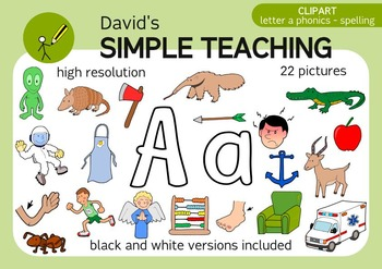 Letter A phonics - spelling clipart with free preview