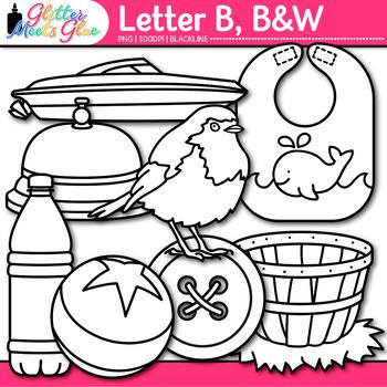 Letter B Alphabet Clip Art Line Art- Letter Recognition, I