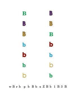 Letter B Recognition Draw a Line Match Trace Color Pick-out