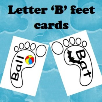 Letter 'B' cards with words inside feet