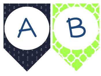 Letter Banners! {Preppy Nautical Theme}