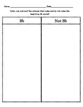 Letter Bb Beginning Sound Sort/Phonemic Awareness