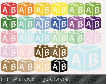 Letter Block Digital Clipart, Letter Block Graphics, Lette