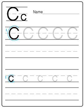 """A Freebie Practice Handwriting Worksheet - """"Letter C"""" {Mes"""