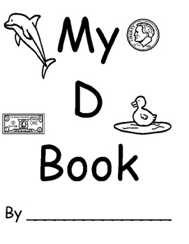 Letter D Book (Printable BW copy with tracing letter and words