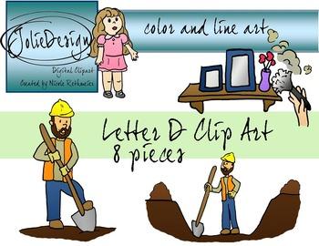 Letter D Clip Art - Color and Line Art 8 pc set